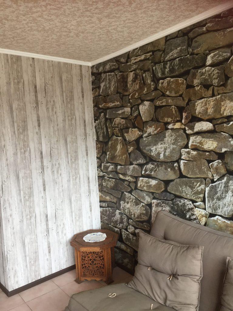 Fotomural piedra y madera6